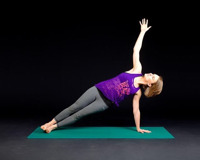 žena, podložka, joga