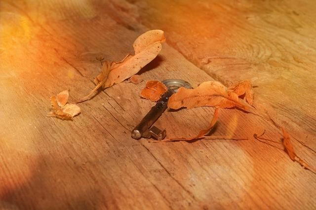 dřevěná podlaha a klíč